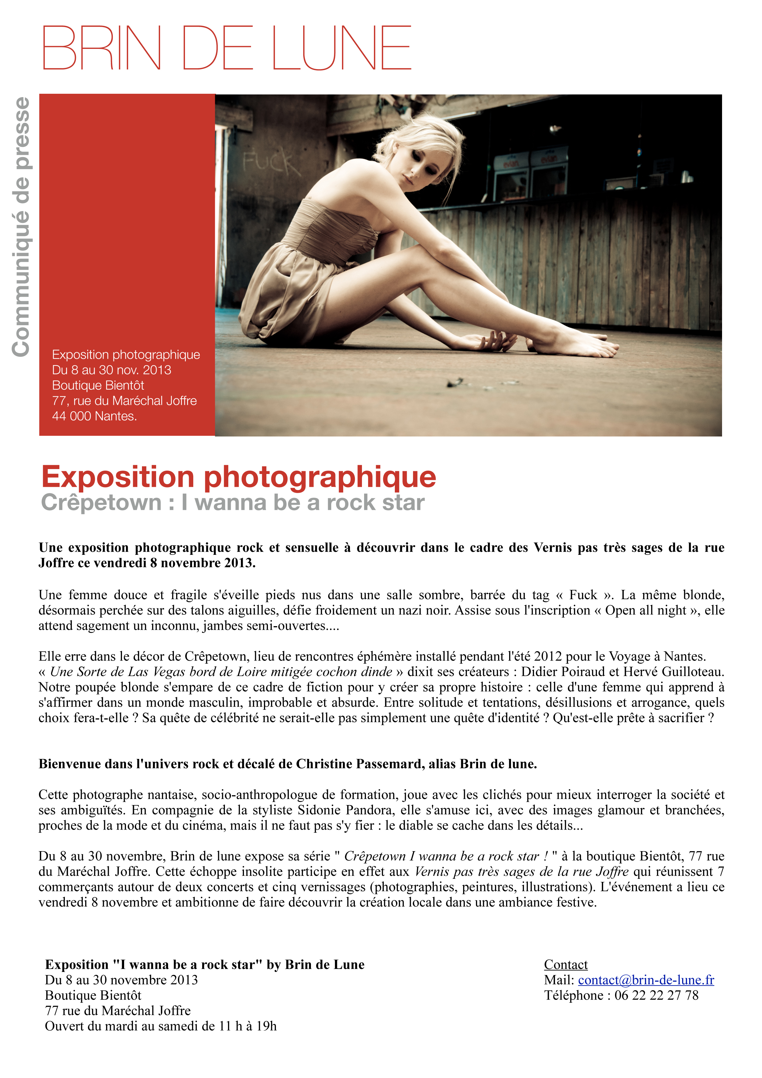 Bien connu Communiqué de presse : exposition photographique du 8 au 30  OE74